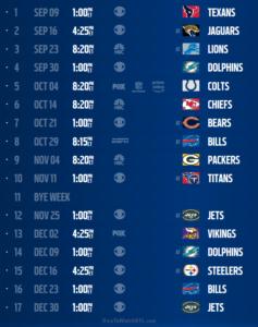 New England Patriots Schedule 2018